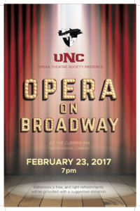 "Currier Inn and UNCOTS join forces to bring you ""Opera on Broadway"""